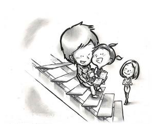階段をベンチに