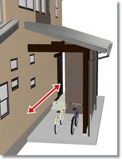 玄関横に自転車置き場と物置