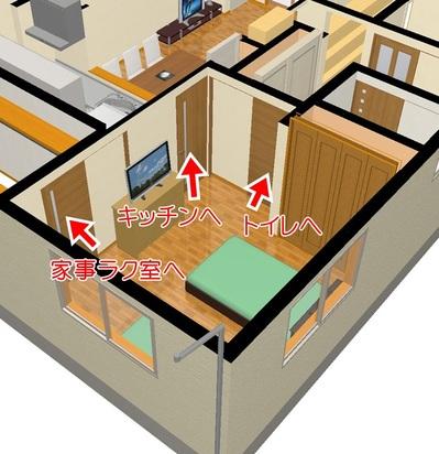 寝室に3つのドア