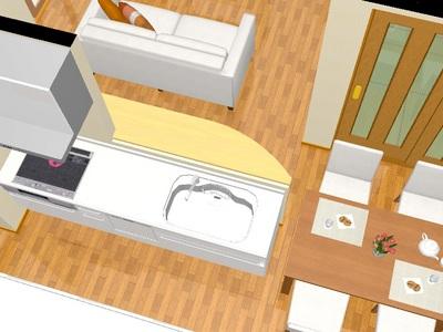 アール型のキッチンカウンター