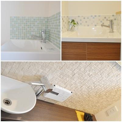 手洗い器のまわりにタイル