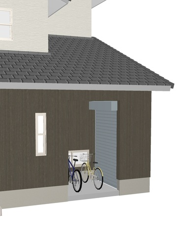 自転車置き場と屋外物置
