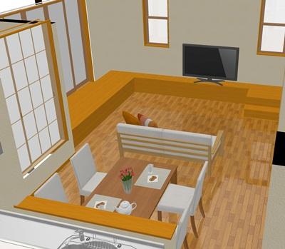 縁側+テレビボード+階段